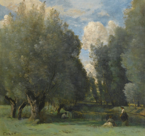 Art Prints of Fishing in the Willows by Camille Corot