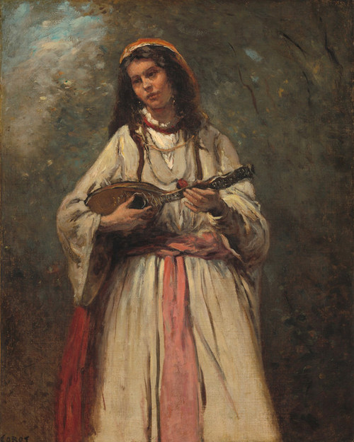 Art Prints of Gitane with Mandoline by Camille Corot