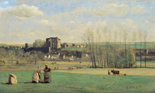 Art Prints of Landscape of La Ferte Milon by Camille Corot