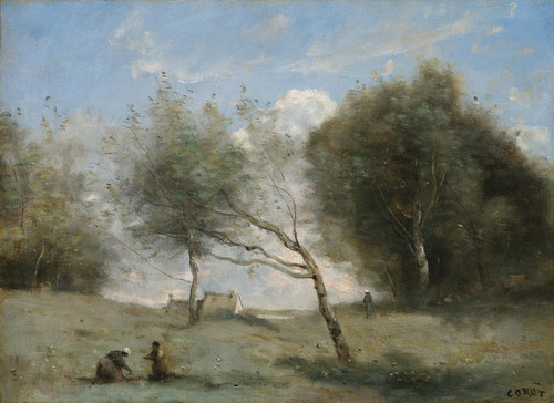 Art Prints of Meadows on a Small Farm by Camille Corot