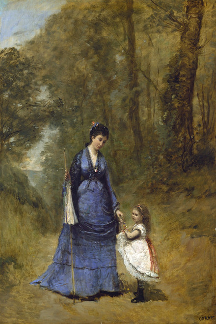 Art Prints of Madame Stumpf and Her Daughter by Camille Corot