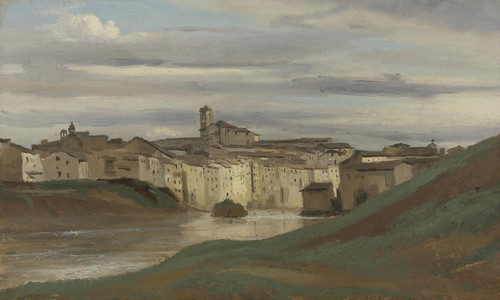 Art Prints of On the Banks of the Tiber by Camille Corot