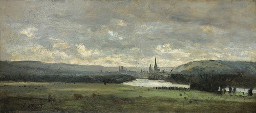 Art Prints of Rouen, a Panoramic view with the Seine by Camille Corot