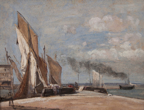 Art Prints of Sailboats at Honfleur by Camille Corot