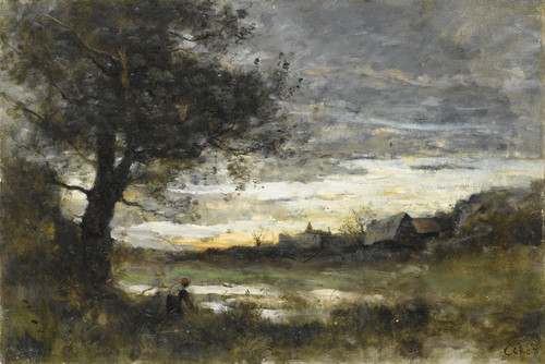 Art Prints of Setting Sun, Normandy by Camille Corot