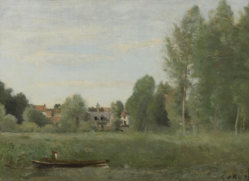 Art Prints of Small Houses in the Hidden Arbes near the Waterfront by Camille Corot