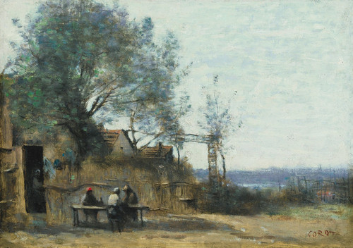 Art Prints of Seated Farmers at the Door of a Cabaret by Camille Corot