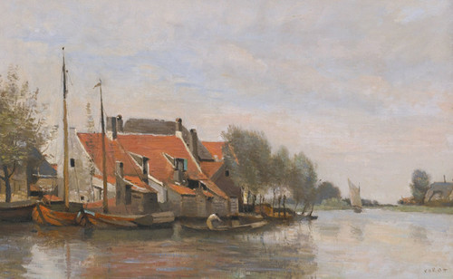 Art Prints of Small House by the Canal Rotterdam, Netherlands by Camille Corot
