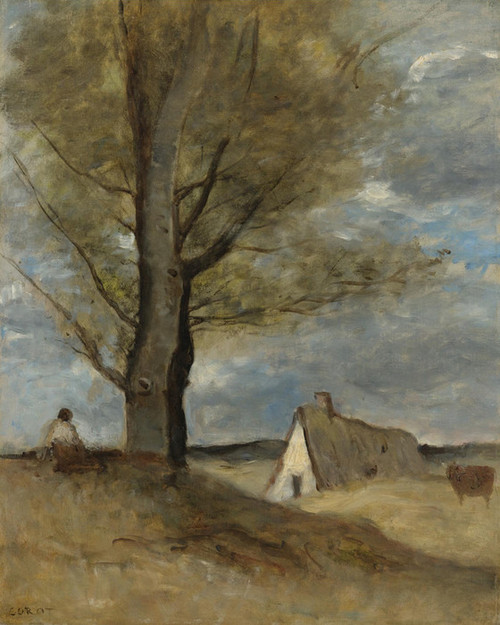 Art Prints of Study of a Landscape with Figure by Camille Corot
