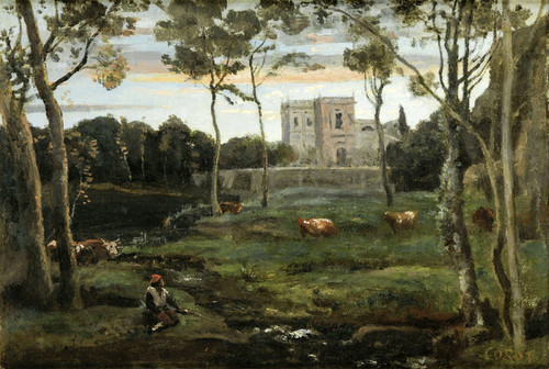 Art Prints of The Park of Doria Pamphilj, Rome by Camille Corot