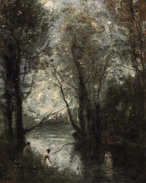 Art Prints of Three bathers by Camille Corot