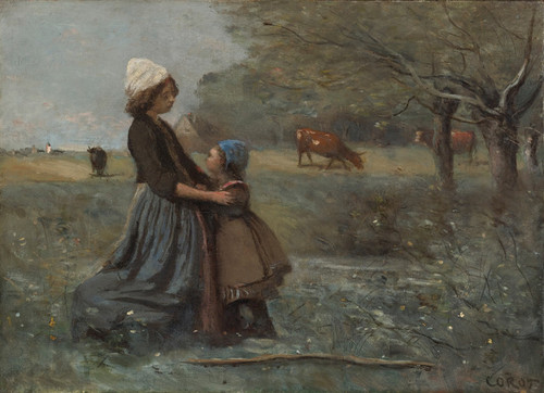 Art Prints of Two Sisters on the Prairie by Camille Corot