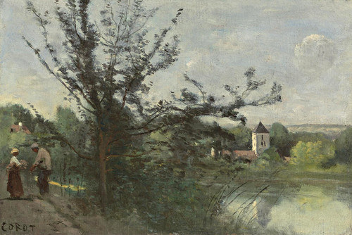 Art Prints of Vetheuil on the Seine by Camille Corot