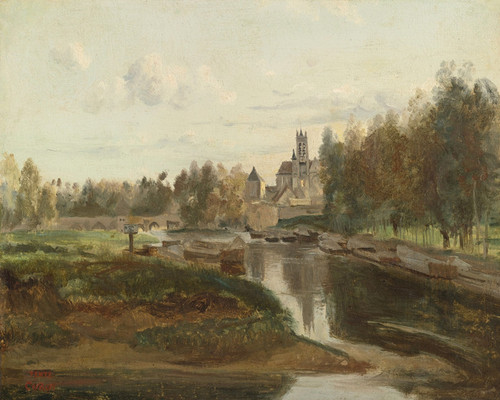 Art Prints of View of Moret sur Loing by Camille Corot