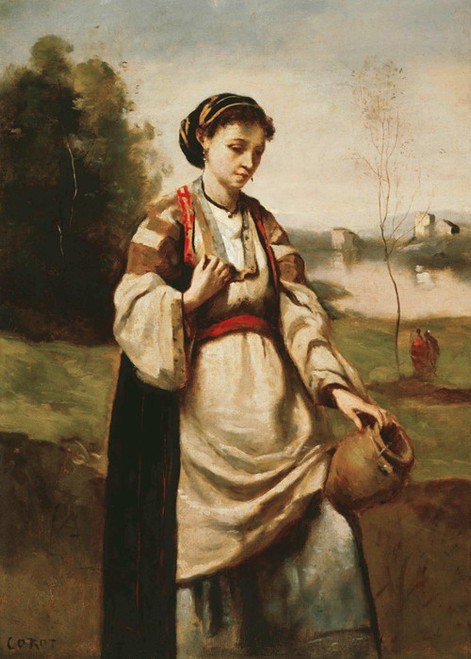 Art Prints of Woman with Water Jar by Camille Corot
