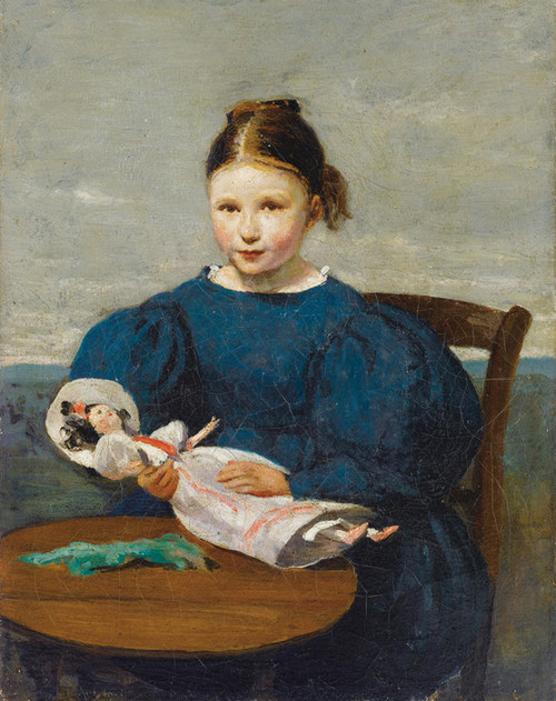 Art Prints of Young Girl with a Doll by Camille Corot