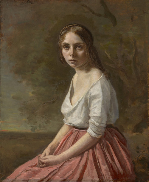 Art Prints of Young Women in a Pink Skirt by Camille Corot