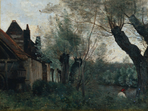 Art Prints of Willows and Farmhouse at Sainte Catherine lC(s Arras by Camille Corot