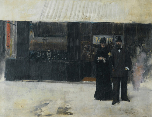 Art Prints of Couple Coming from a Jewelry Store by Jean Beraud