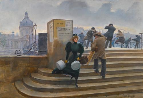 Art Prints of Milliner on the Bridge by Jean Beraud