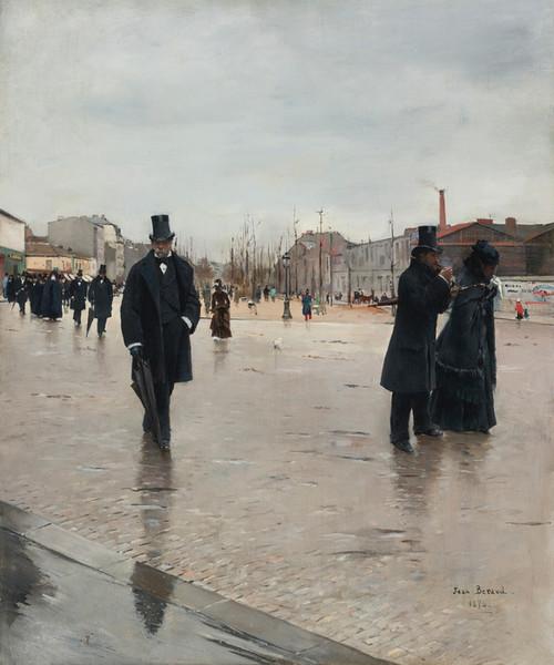 Art Prints of Leaving Montmartre Cemetery by Jean Beraud