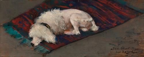 Art Prints of White Poodle by Jean Beraud