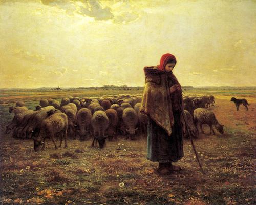Art Prints of Shepherdess Keeping Her Sheep by Jean-Francois Millet