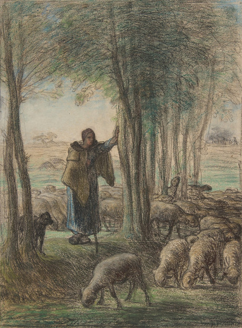 Art Prints of A Shepherdess and Her Flock by Jean-Francois Millet