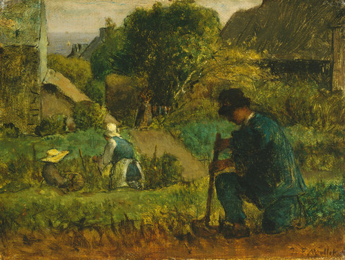 Art Prints of Garden Scene by Jean-Francois Millet