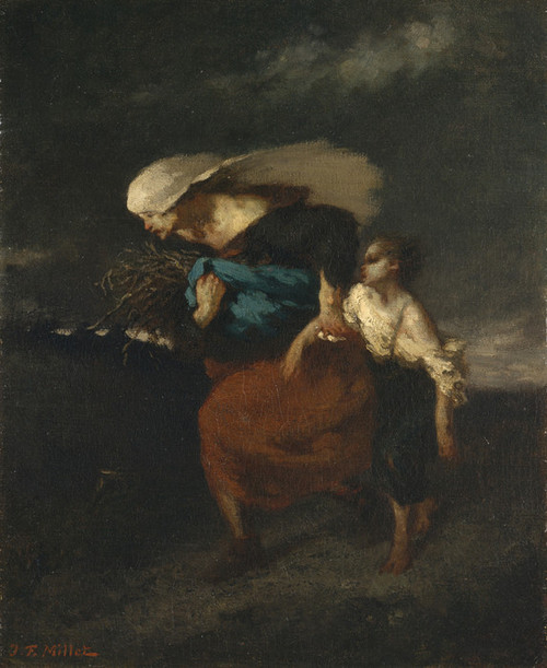 Art Prints of Retreat from the Storm by Jean-Francois Millet