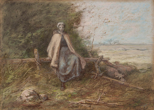 Art Prints of Shepherdess by Jean-Francois Millet