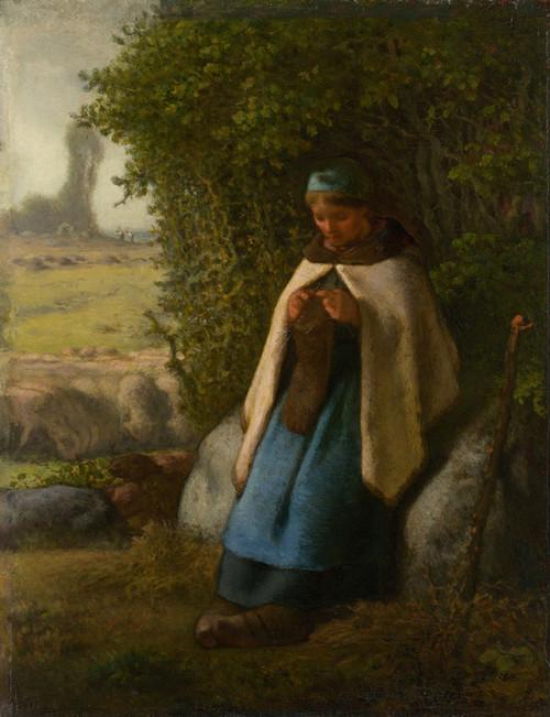 Art Prints of Shepherdess Seated on a Rock by Jean-Francois Millet