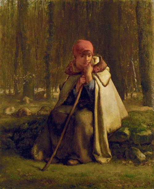 Art Prints of Seated Shepherdess by Jean-Francois Millet