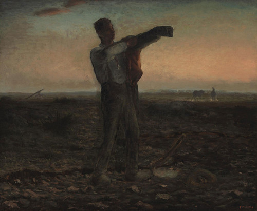 Art Prints of The End of the Day, Evening Effect by Jean-Francois Millet