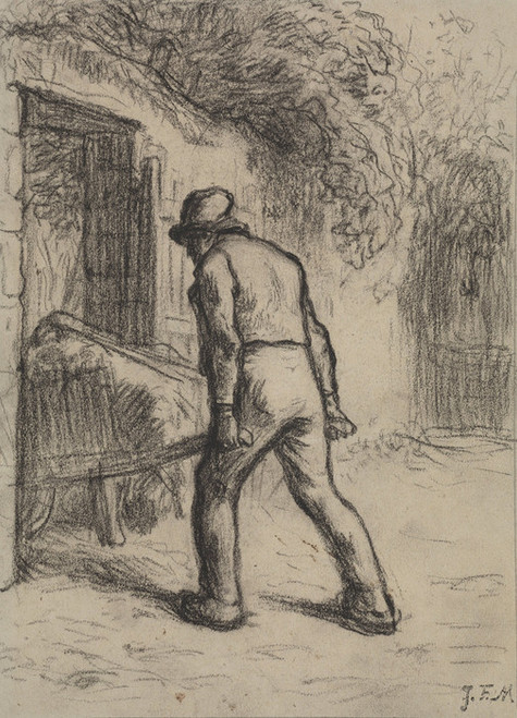Art Prints of Study for Man with a Wheelbarrow by Jean-Francois Millet