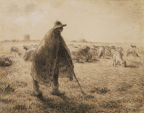 Art Prints of The Shepherd by Jean-Francois Millet
