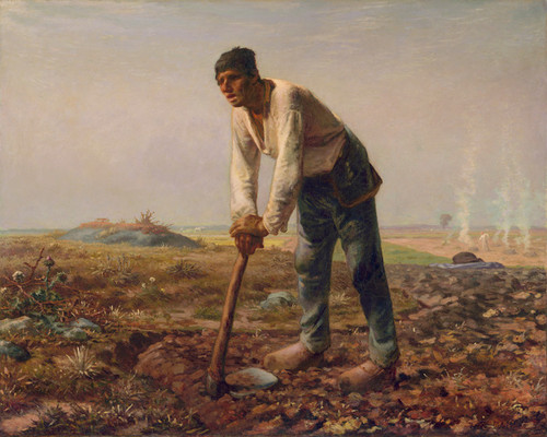 Art Prints of Man with a Hoe by Jean-Francois Millet
