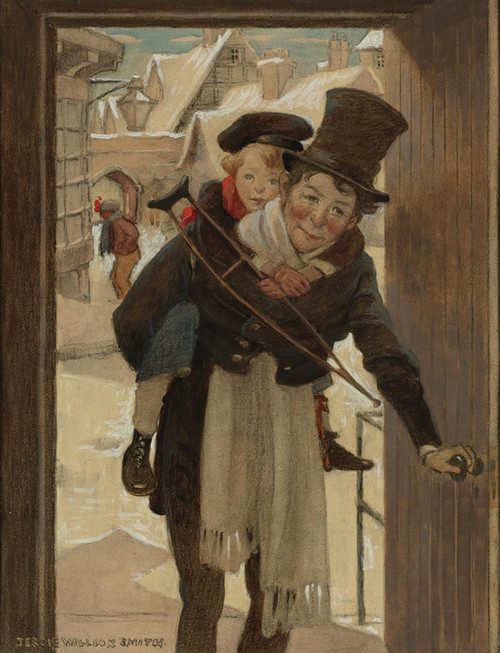 Art Prints of Tiny Tim and Bob Cratchit on Christmas Day by Jessie Willcox Smith