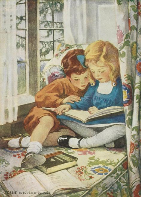 Art Prints of Children Reading by Jessie Willcox Smith