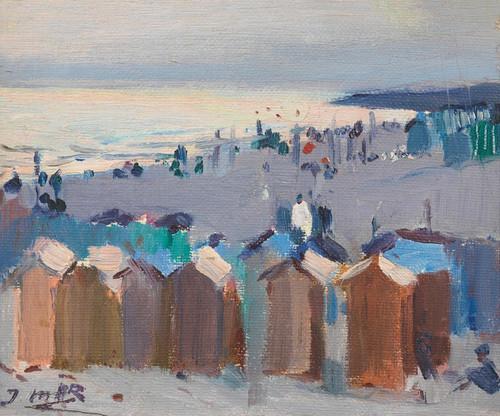 Art Prints of Bathing Huts on the Beach at Vilanova by Joaquim Mir