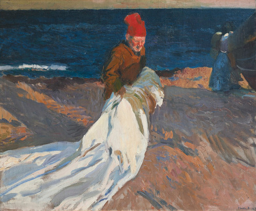 Art Prints of Gathering the Sail, Valencia Beach by Joaquin Sorolla y Bastida