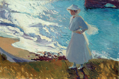 Art Prints of Maria on the Beach at Biarritz by Joaquin Sorolla y Bastida