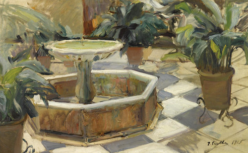 Art Prints of Patio Fountain in Seville by Joaquin Sorolla y Bastida