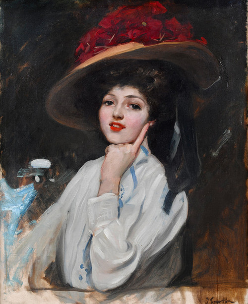 Art Prints of Portrait of a Young Woman in a Hat by Joaquin Sorolla y Bastida
