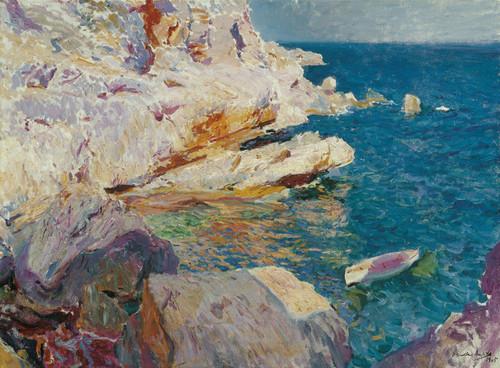 Art Prints of Rocks at Javea, the White Boat by Joaquin Sorolla y Bastida