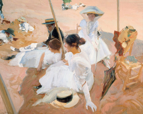 Art Prints of Under the Awning on the Beach at Zarauz by Joaquin Sorolla y Bastida