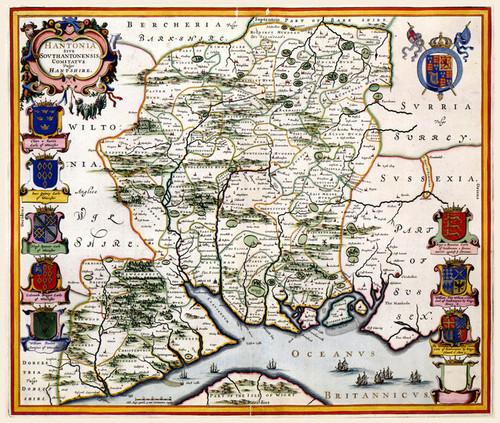 Art Prints of Hantshire, 1646 (327) by Johannes Jannsonius