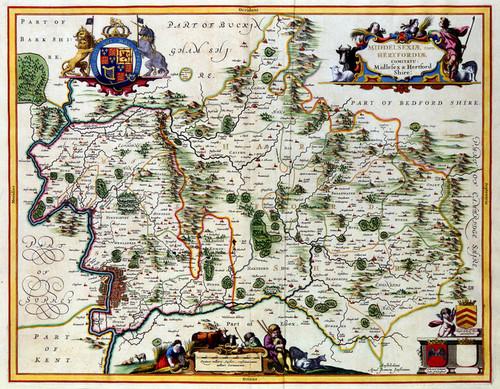 Art Prints of Middlesex and Hertfordshire, 1646 (329) by Johannes Jonnsonius