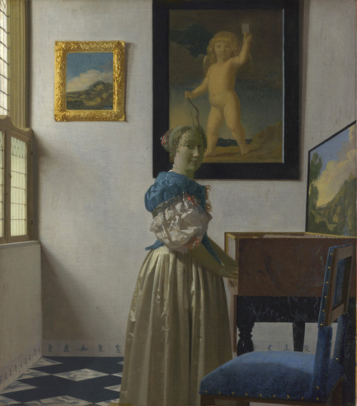 Art Prints of A Lady Standing at a Virginal by Johannes Vermeer