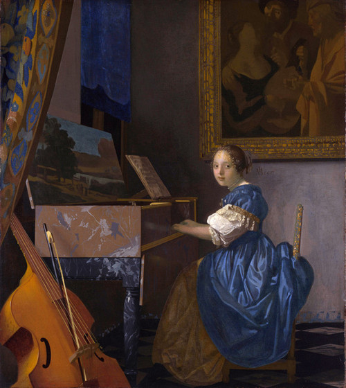 Art Prints of A Lady Seated at a Virginal by Johannes Vermeer